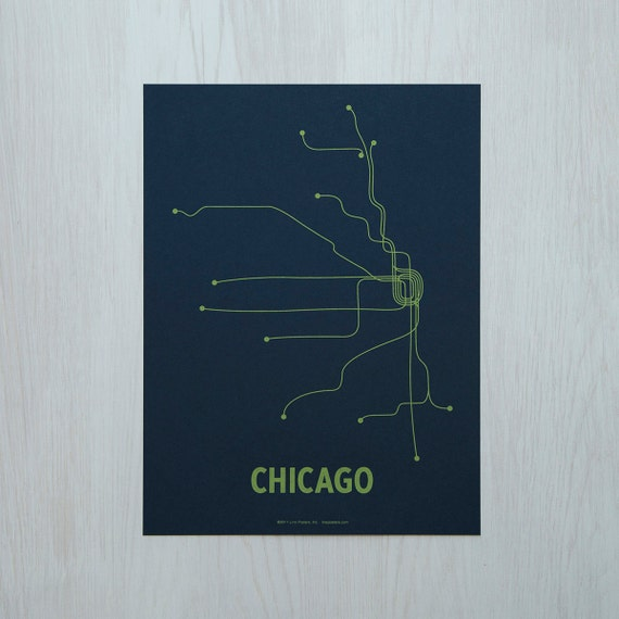 Chicago Sm Screen Print - Navy/Green