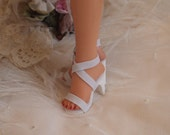 "18"" Miss Revlon White High Heel Elastic Doll Shoes ~ Replica of Original"