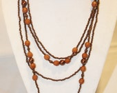 Nice Long 2 Strand Various Brown Bead Necklace