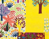 LAMINATED cotton fabric - Jardin Colorido Spice yellow yardage (aka oilcloth coated vinyl fabric ) - Alexander Henry