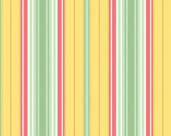 18 x 20 LAMINATED cotton fabric yardage (similar to oilcloth) - Freshcut Lounge Stripe Gold - BPA free - safe for childrens products
