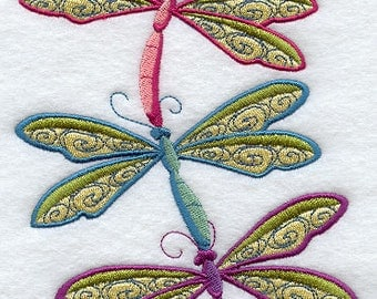 Dragonfly Stack Embroidered Flour Sack Hand/Dish Towel