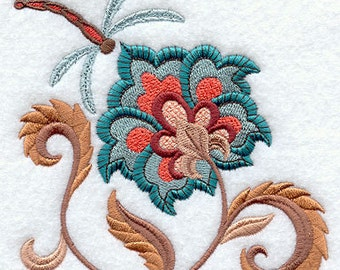 Jacobean Bloom Dragonfly Embroidered Flour Sack Hand/Dish Towel