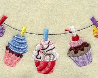 Cupcake Clothesline Embroidered Flour Sack Hand/Dish Towel
