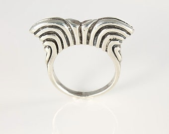 Modernist Sterling Ring, Silver Stacking Stackable Ring size 7,  Tall Heavy vintage jewelry