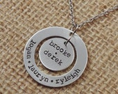 Hand Stamped Family Necklace - Personalized Necklace - Hand Stamped Jewelry - Mothers Necklace