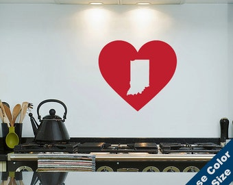 I Heart Indiana State Wall Decal - Love Sticker - Free Shipping