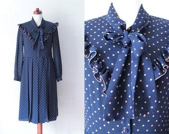 Vintage Polka Dot Dress - Blue 1970's Dress with Ruffles - Size S