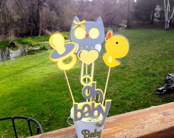 Baby Shower Table Decoration Centerpiece Owl Rubber Duck Oh Baby