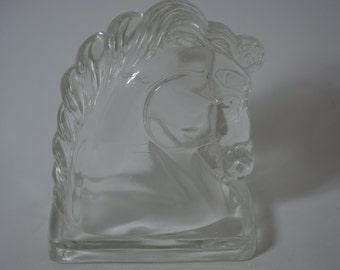 Mid Century Glass Horse. Bookend. Caballo. Sculptural.