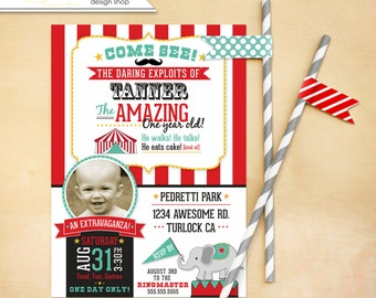Circus Birthday Invitation Carnival Mustache 1st birthday first birthday