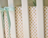 Metallic Gold Dot Crib Bumpers - Gold Crib Bumpers - Polka Dot Crib Bedding