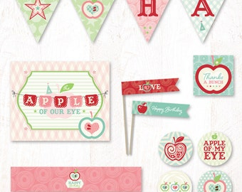 Apple of My Eye Birthday - Instant Download PRINTABLE Party Kit