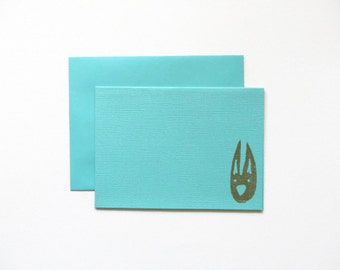 Blue Bunny Card, Aqua Blank Card, Rabbit Greeting Card, Handstamped Animal Stationery, Teal A2 Card, Card and Envelope