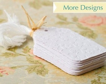White embossed gift tags. Choose your style from paisley | polka dots | birds or flowers. 25 set wedding favors embellishments