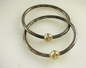 2 Interlocking Bangle Bracelets Mixed Metal Sterling Silver with 14kGold Bead Cape Cod Style  FREE US Ship