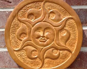 Concrete Sun Face - Brownish Orange