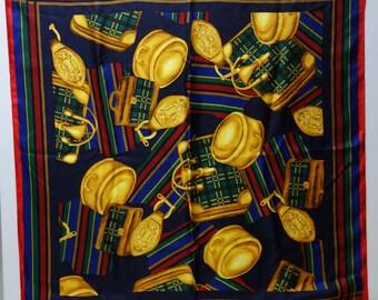 70s FORELE Plaid Silk Scarf