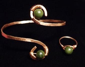 Copper and Dark Olive Jade set/Ring and Bracelet