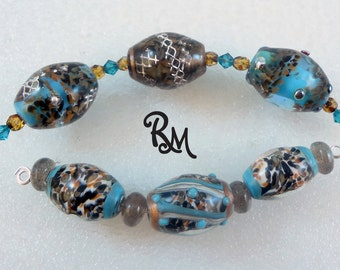 Lampwork Bead Set  'Earth and Sky'