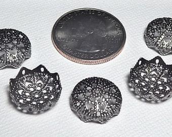 15mm Gunmetal Fancy Round Bead Caps