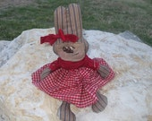 Primitive Red White Blue Shweet Raggedy Bunny Cloth Doll