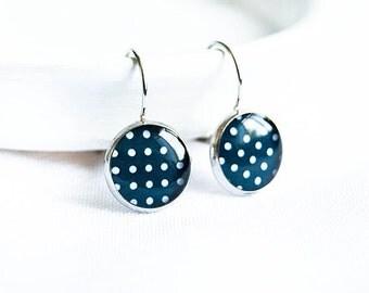 Navy blue drop earrings retro jewelry polka dot earrings
