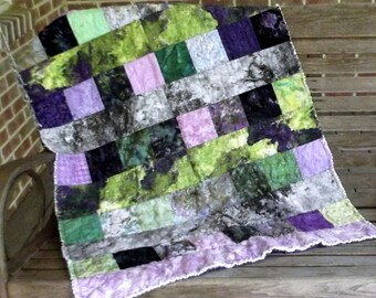 Handpainted Purple Patchwork Quilt