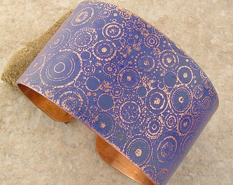 "Etched Copper Bracelet Cuff, Periwinkle Circles, 1.5"" Wide"