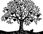 Heart Tree Orchard Fruit - Digital Image - Vintage Art Illustration  - Instant Download