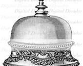 Desk Bell Hotel Business Service Announcement Call Antique - Digital Image - Vintage Art Illustration - Instant Download