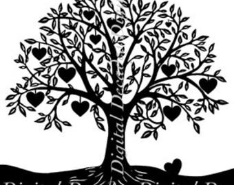 Heart Tree Orchard Fruit - Digital Image - Vintage Art Illustration  - Instant Download