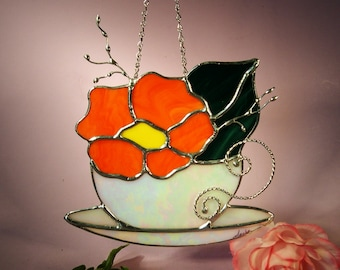Stained Glass Tea Cup with Flower  (428)