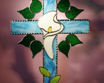 Stained Glass Suncatcher  Cross with Lily  (440)