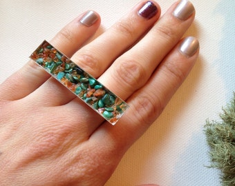 Turquoise and Carnelian deuce ring