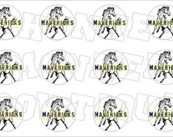 Mavericks with blue and yellow writing bottlecap image sheet - school mascot