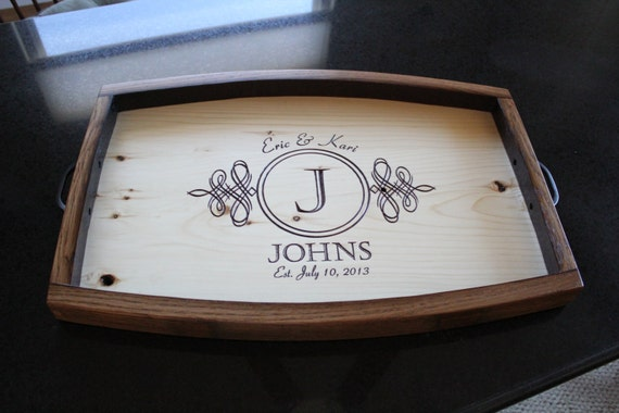 personalized wine barrel serving tray wedding gift