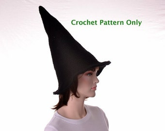 Crochet Tall Witches Hat Pattern 3 Sizes Small Medium Large Man or Women Instant Download