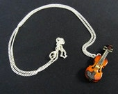 Violin Necklace Music Miniblings Viola with Case Silver Plated
