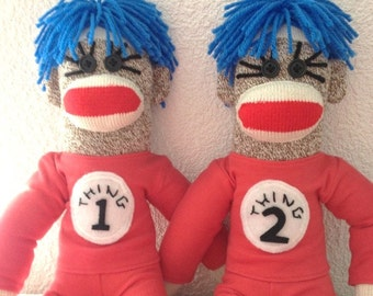 Thing 1 and Thing 2 Sock Monkeys