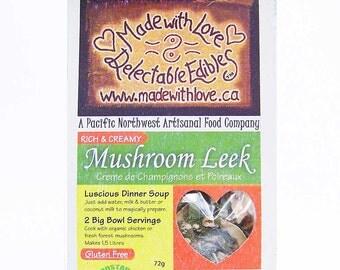 Creamy Mushroom Leek Artisan Soup Mix - Eco Gourmet Gift under 10 - Gluten-Free DIY Soup Mix Kit Gift Set - Food Market