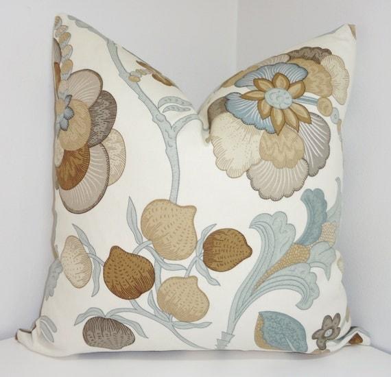 decorative floral pillow cover tan brown grey blue slate. Black Bedroom Furniture Sets. Home Design Ideas
