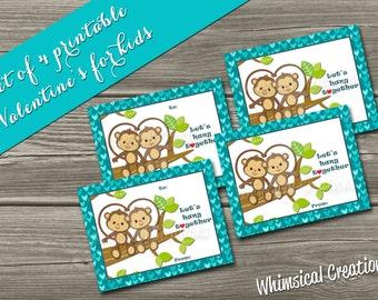 INSTANT DOWNLOAD Kids Valentines Cards (Set of 4 Let's Hang Together Design) DIY Printable
