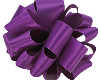 "Satin Ribbon, 1 1/2"" Double Sided Purple - FIVE YARDS - Offray Satin No. 9 ""Grape"" #463, Double Faced Satin, Wedding Ribbon"