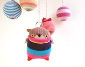 SOCKbear-MINI Pip, Key ring, Bag Clip, Hanging ornament, Stocking filler, brown bear stripey sweater