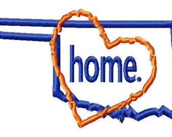 Oklahoma-Heart-home - Applique - Machine Embroidery Design - 12 Sizes
