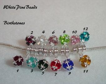 Birthstone Rhinestone Ball  Dangle Charms Fits European  Style Charm Bracelets