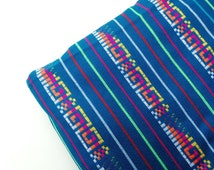 Teal Mexican Fabric - One Yard - Aztec Tribal Pattern -  Cambaya Wedding Material by the Yard
