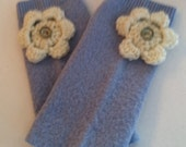 Fingerless Gloves, Handmade from Recycled Vintage Wool Sweater, Light Blue with White Crocheted Flower Embellishment and Vintage Buttons