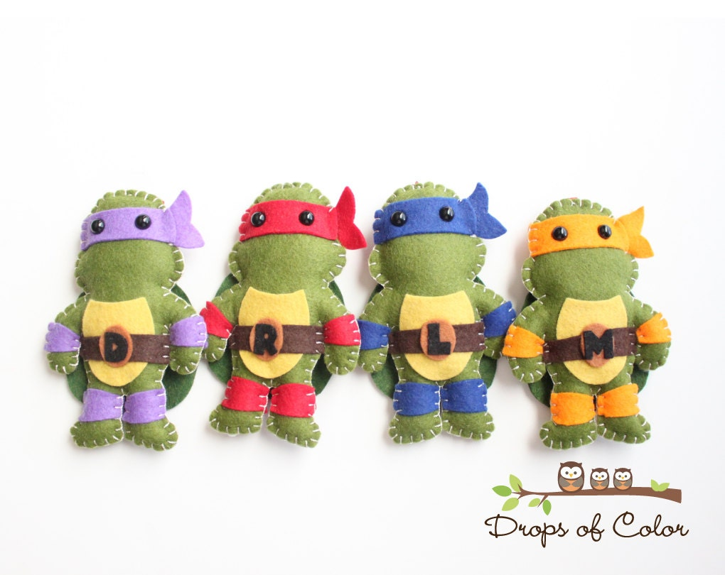 Toys Ninja Turtlw : Tmnt teenage mutant ninja turtles plush toys four felt